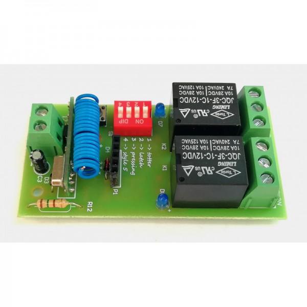 برد گیرنده 2 کاناله کد لرن 433MHz