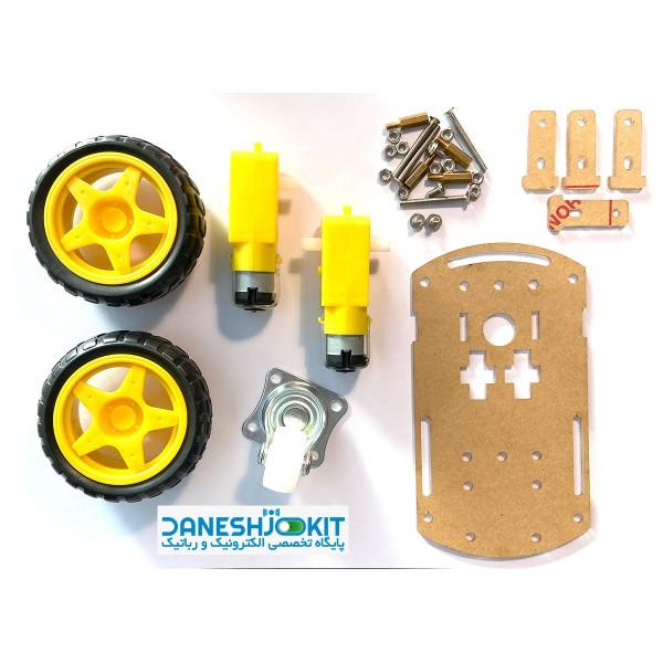 پک شاسی ربات دو چرخ همراه با پیچ و مهره