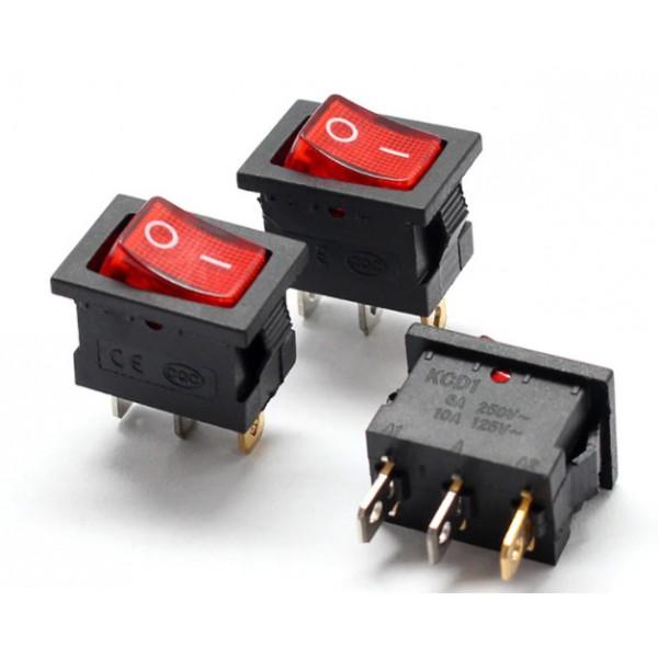 کلید راکر دو حالته 3 پین چراغ دار KCD1-101