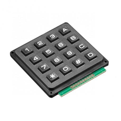 ماژول کیبورد 4x4 صنعتی با حروف و عدد قاب پلاستیکی مشکی