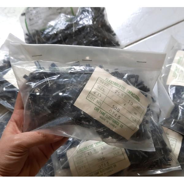 بسته 500 عددی خازن 10میکروفاراد 25 ولت برند cho yang کره ای - دانشجو کیت