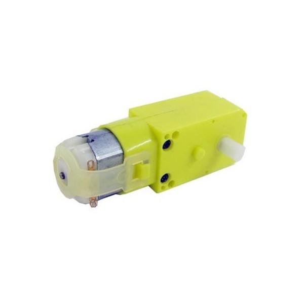 موتور گیربکس دار 90 دور تک شافت رباتیک پلاستیکی - موتور زرد 90RPM - دانشجو کیت