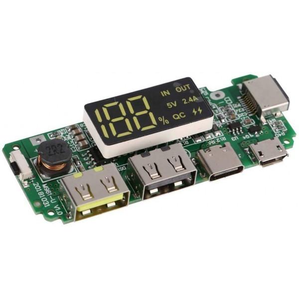 ماژول پاو ربانک Type-C با نمایشگر درصد شارژر باتری H961 - دانشجو کیت