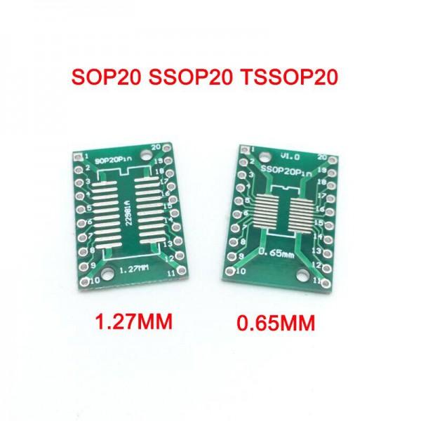 برد تبدیل SMD به Dip مدل sop20 1.27 to ssop20 0.65 - دانشجو کیت