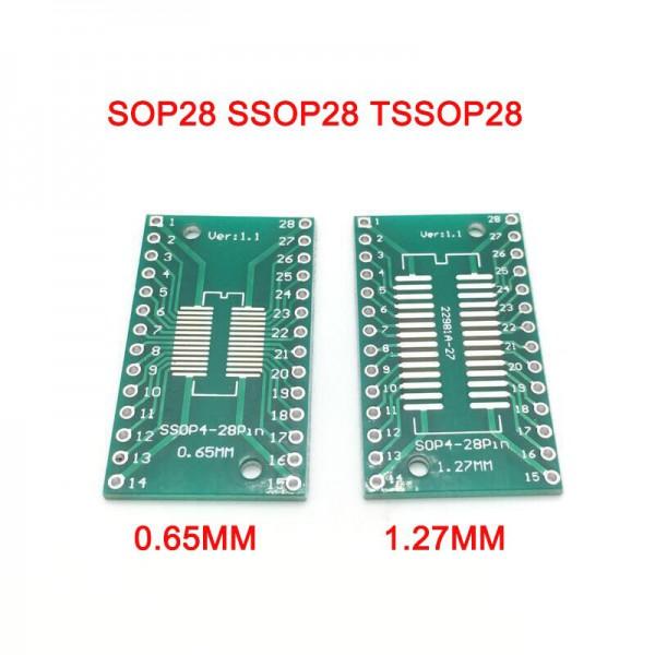 برد تبدیل SMD به Dip مدل sop28 1.27 to ssop28 0.65 - دانشجو کیت