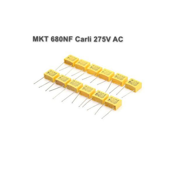 خازن MKT 680NF برند Carli ولتاژ 275V AC