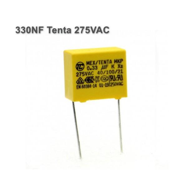 خازن MKT 330NF برند Tenta ولتاژ 275V AC