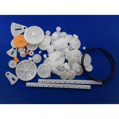 پک چرخ دنده و پولی 79 عددی به همراه تسمه رنگی Gear Pack Plastic Gear 79 Straight Gear Pack Gear Single-Layer Gear POM