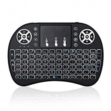 مینی کیبورد وایرلس با باتری شارژی دانگل و چراغ صفحه کلید Wireless Mini Keyboard مناسب رزبری پای