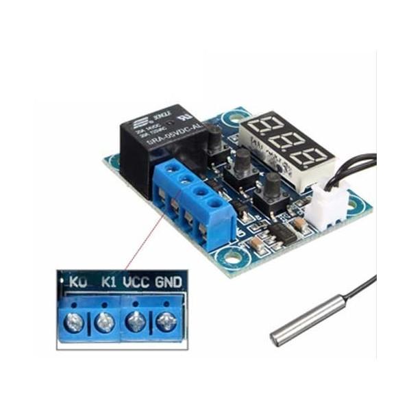 ماژول کنترلر دما و ترموستات دیجیتال WX-101W با سنسور DS18B20 و نمایشگر دما