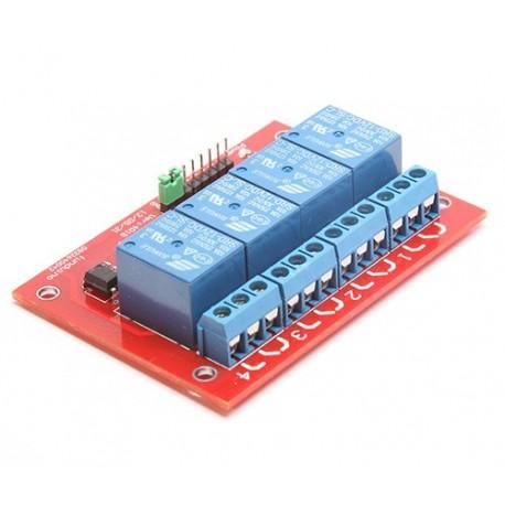 ماژول رله 4 کاناله برد قرمز با اپتوکوپلر مناسب برای رزبری پای RPI Relay Module