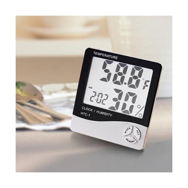 دماسنج و رطوبت سنج و ساعت رومیزی HTC1