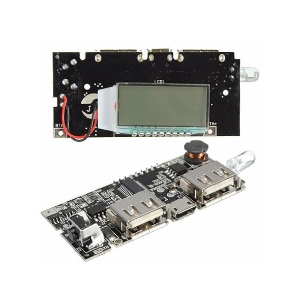 ماژول پاور بانک Power Bank دو کاناله 1 آمپر با نمایشگر LCD ال سی دی