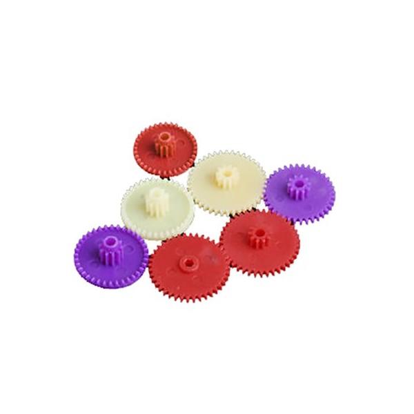 چرخ دنده پلاستیکی و فلزی رنگی بیش از 10 عدد چرخ دنده پر مصرف