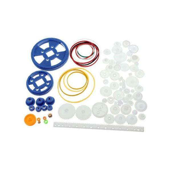 پک 80 عددی چرخ دنده پلاستیکی DIY مخصوص ساخت ربات با پولی و تسمه