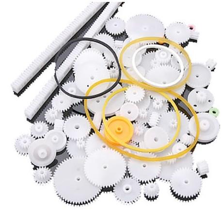 پک 75 عددی چرخ دنده پلاستیکی مارپیچ، دوطرفه و طولی DIY مخصوص ساخت ربات با پولی و تسمه