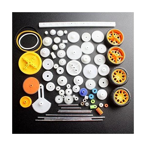 پک چرخ دنده پلاستیکی و فلزی با 4 عدد تایر مخصوص ساخت ربات DIY