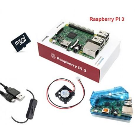 پک رزبری پای 3 Raspberry pi رسپبری پای 3 با کیس - فن و کابل USB به همراه سیستم عامل 8 گیگابایت
