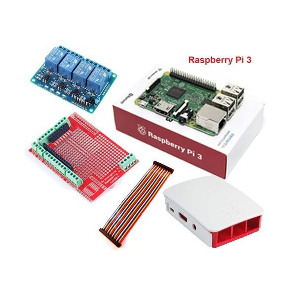 پک رزبری پای 3 Raspberry pi رسپبری پای 3 با کیس - فن و کابل USB به همراه سیستم عامل 8 گیگابایت و رله