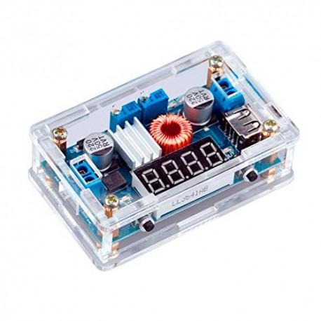 ماژول کاهنده ولتاژ و جریان با نمایشگر سگمنت، خروجی USB و قاب تراشه XL4015 توان 3 آمپر