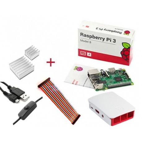 برد رزبری پای 3 Raspberry pi UK + کابل پاور 2.5 آمپر + هیت سینک