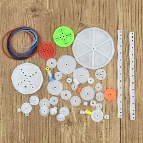 پک چرخ دنده و پولی 43 عددی به همراه تسمه رنگی Plastic Gear and Pulley