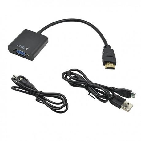 کابل تبدیل HDMI به VGA با کابل صدا و آداپتور USB مشکی درجه یک