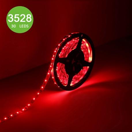 LED نواری قرمز 3528 TFS 12V با 30 ال ای دی LED در متر و روکش ضد آب