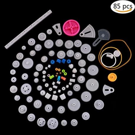 پک 85 عددی چرخ دنده و پولی پلاستیکی DIY مخصوص ساخت ربات با پولی و تسمه