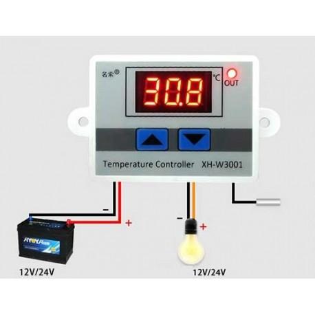 ماژول کنترلر دما با سنسور DS18B20 ضدآب مدل XH-W3001 ولتاژ 12 ولت