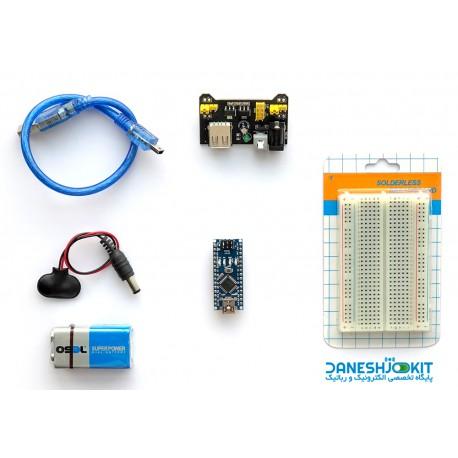 کیت آردوینو Arduino NANO به همراه ماژول تغذیه و باتری