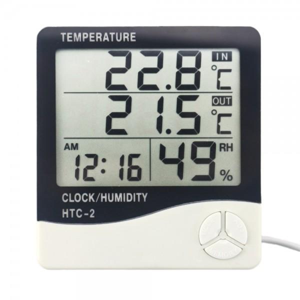 دماسنج رطوبت سنج و ساعت رومیزی HTC 2