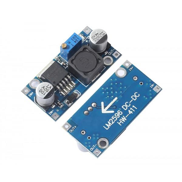 ماژول کاهنده ولتاژ LM2596HVS با ورودی قابل تنظیم 4.5 تا 40 ولت HW-411