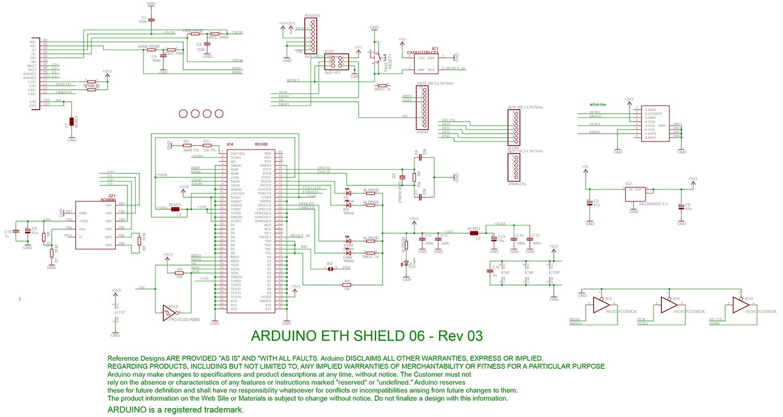 شماتیک برد آردوینو Shield Ethernet